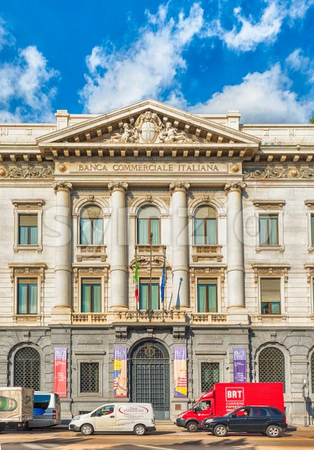 Palace of the Banca Commerciale Italiana, Milan, Italy Stock Photo