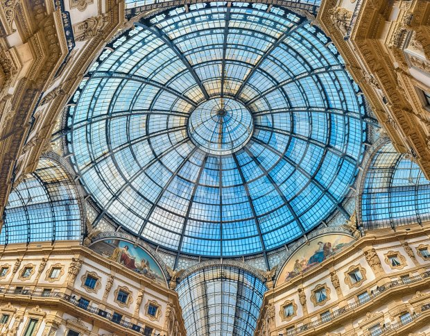 Glass dome of the Galleria Vittorio Emanuele II, Milan, Italy Stock Photo
