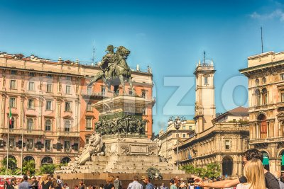 Monument to King Victor Emmanuel II, Piazza Duomo, Milan, Italy Stock Photo