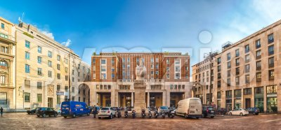 Panoramic view of Piazza Affari, Milan, Italy Stock Photo