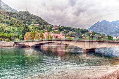 View over John Fitzgerald Kennedy Bridge in central Lecco, Italy Stock Photo