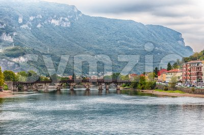 Scenic view over the Adda river in central Lecco, Italy Stock Photo