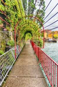 Scenic walkaway in Varenna town, Lake Como, Italy Stock Photo