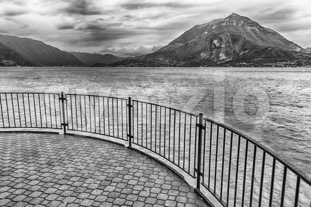 Scenic balcony over the landscape of Lake Como, Italy Stock Photo