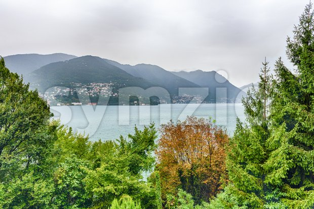 Scenic landscape over the Lake Como, as seen from the town of Brunate, Italy