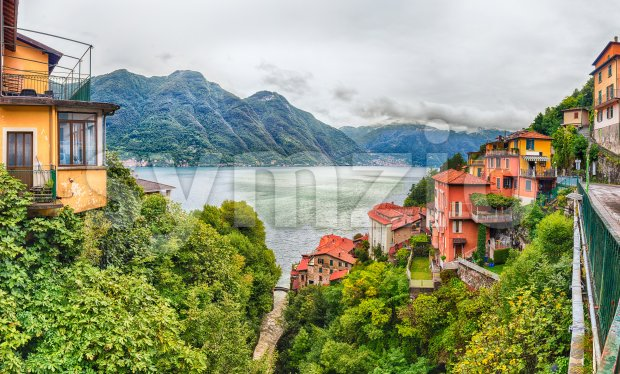 Panoramic view over the Lake Como, as seen from the town of Bellano, Italy