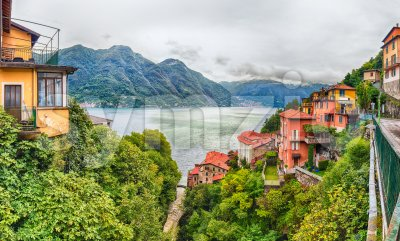 Panoramic view over the Lake Como from Bellano town, Italy Stock Photo