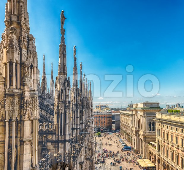 Aerial view from the roof of the Cathedral, Milan, Italy Stock Photo