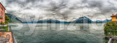 Panoramic view over Lake Como from Varenna town, Italy Stock Photo