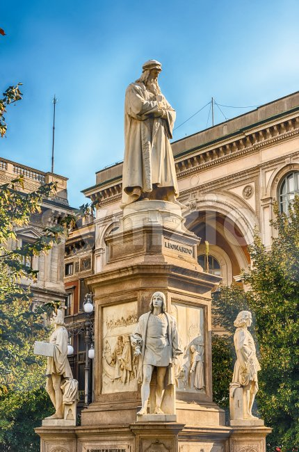 Statue of Leonardo da Vinci in Milan, Italy Stock Photo