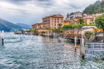 View of Bellagio waterfront on the Lake Como, Italy Stock Photo