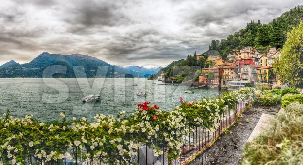 Panoramic view of the picturesque village of Varenna on the eastern shore of Lake Como, Italy