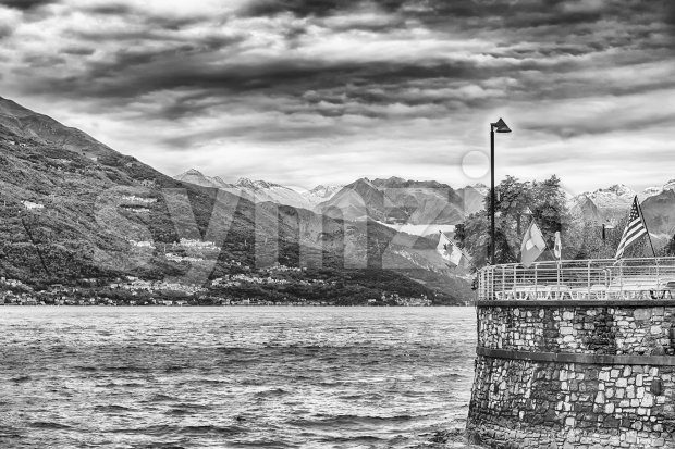 Scenic idillic view over the Lake Como from the town of Varenna, Italy