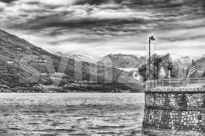 Scenic view over Lake Como from Varenna town, Italy Stock Photo