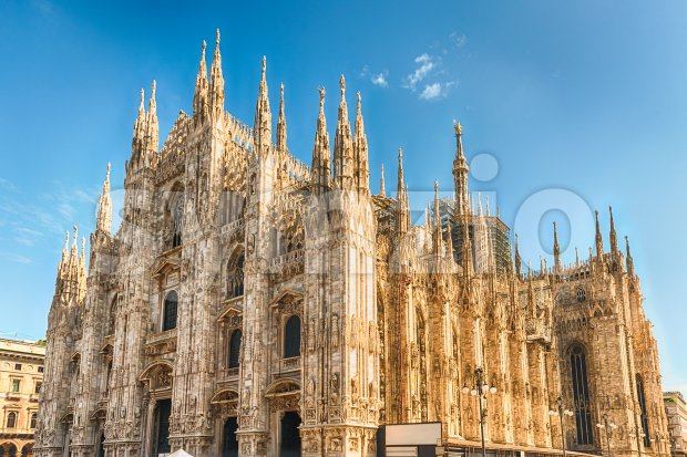 The gothic cathedral, aka Duomo, iconic landmark in Milan, Italy