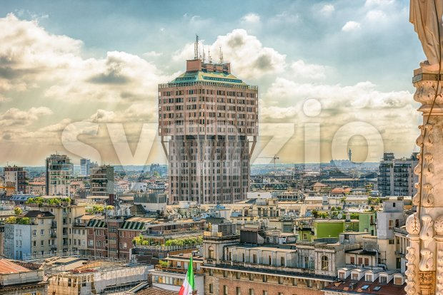 Velasca Tower seen from the roof Milan Cathedral, Italy Stock Photo