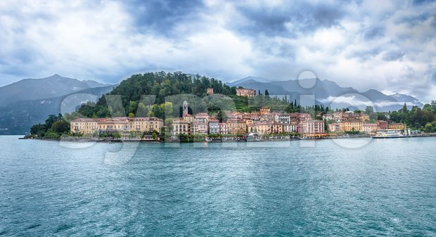 Panoramic view at dusk with waterfront of Bellagio town on the Lake Como, Italy