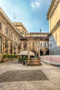 The scenic Piazza Mercanti (Merchants' Square) in Milan, Italy Stock Photo