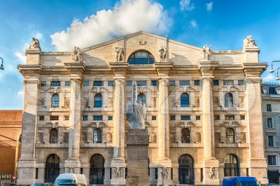 Facade of Palazzo Mezzanotte, stock exchange building in Milan, Italy Stock Photo